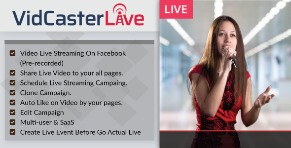 Source code              VidCasterLive – Facebook Live Streaming With Pre-recorded Video            nulled