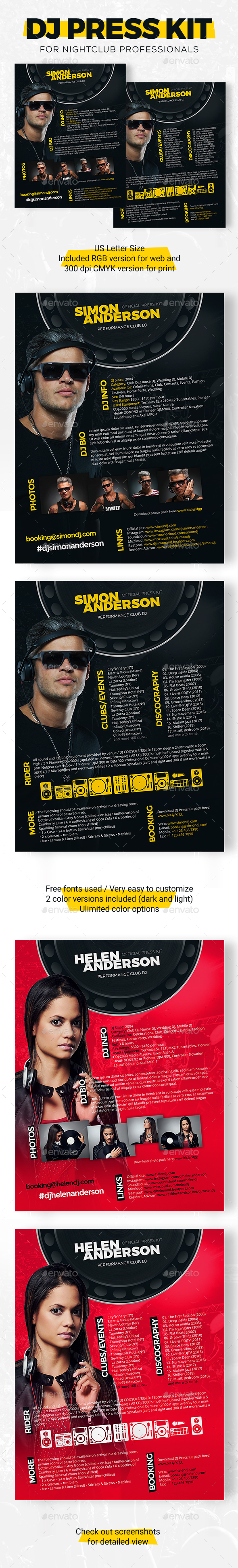 Roll - DJ Press Kit / DJ Resume / DJ Rider PSD Template