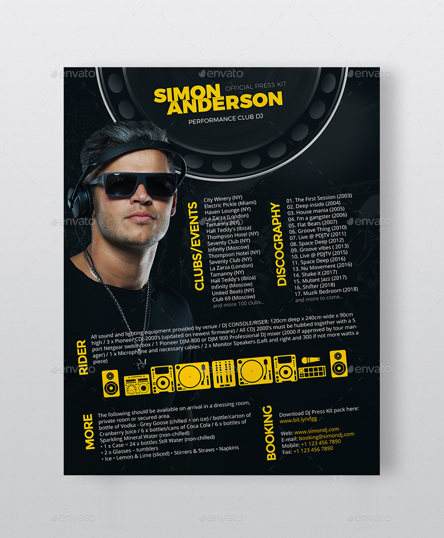 dj press kit template free - roll dj press kit dj resume dj rider psd template by