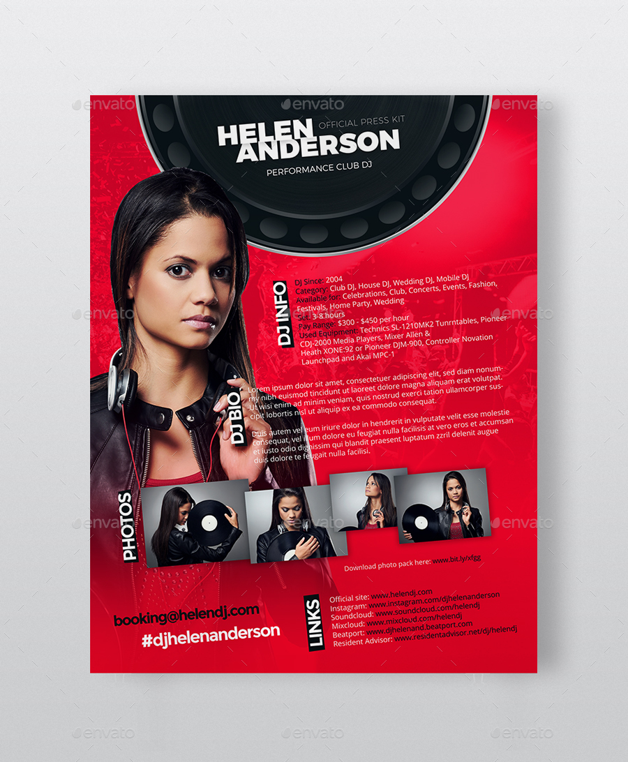 Roll - DJ Press Kit / DJ Resume / DJ Rider PSD Template by vinyljunkie