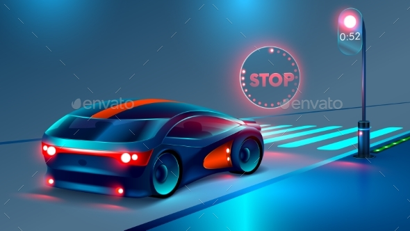 GraphicRiver Car Stopped at a Red Light 20899554