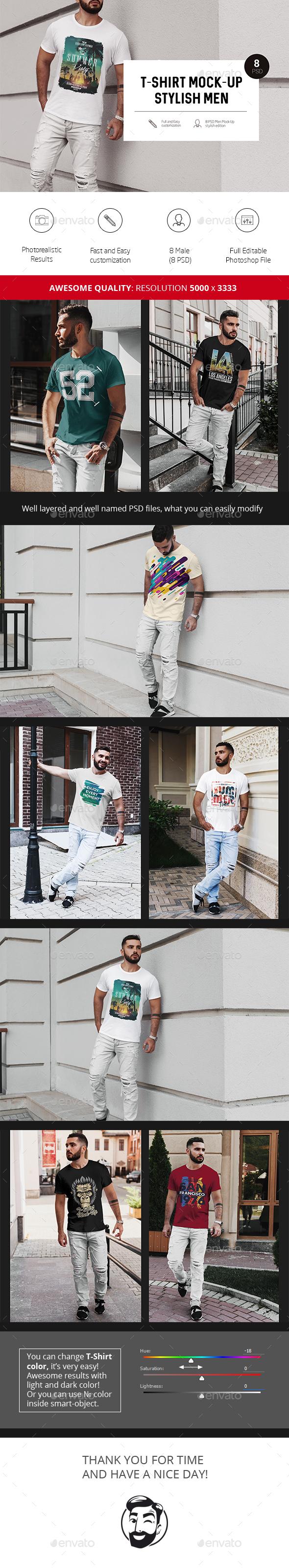 T-Shirt Mock-Up Stylish Men - Product Mock-Ups Graphics