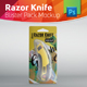 Razor Knife Blister Pack Mockup With Cutter Inside