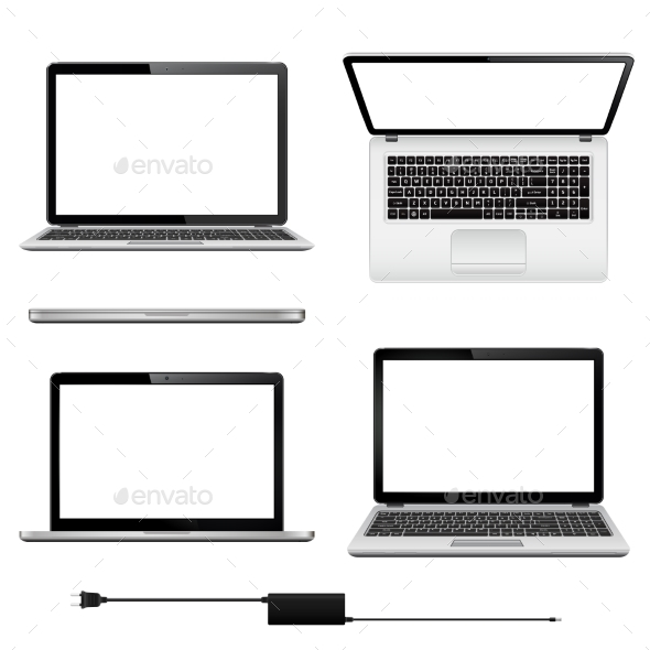 Set of Vector Laptops with Blank Screen - Computers Technology