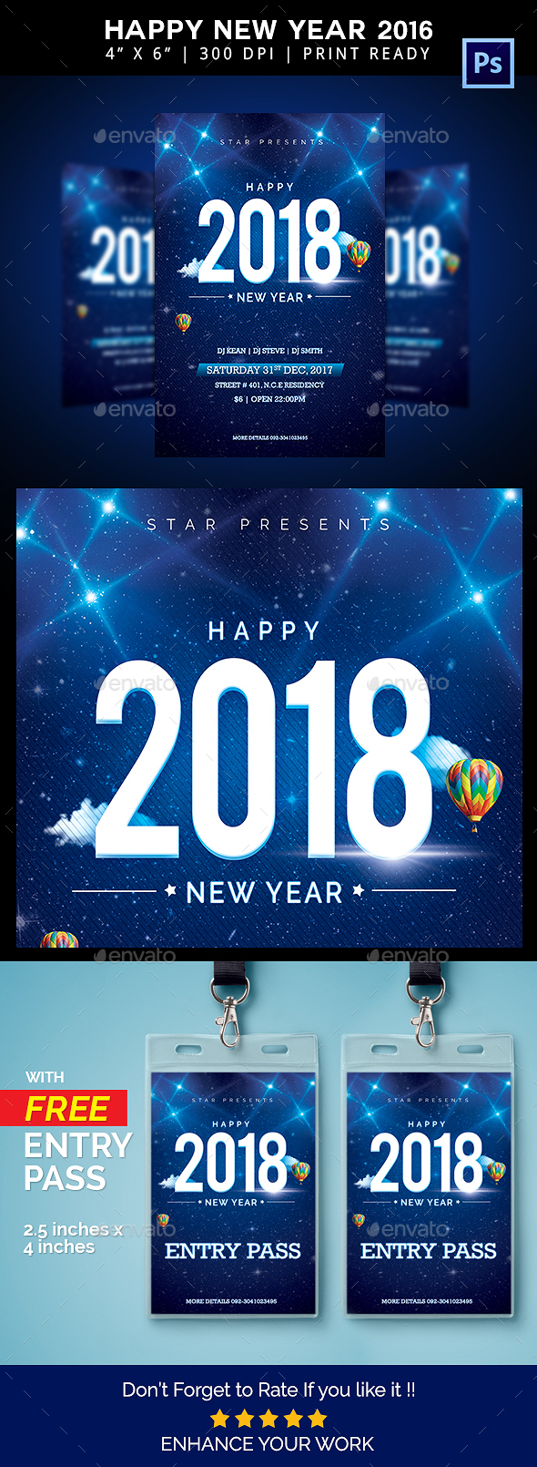 GraphicRiver Happy 2018 New Year Flyer 20899860