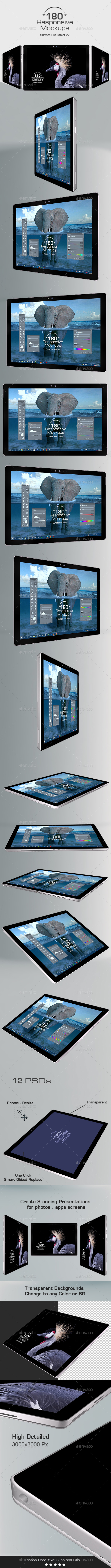 180 Responsive 3d Mockups - Surface Pro Tablet V2 - Monitors Displays