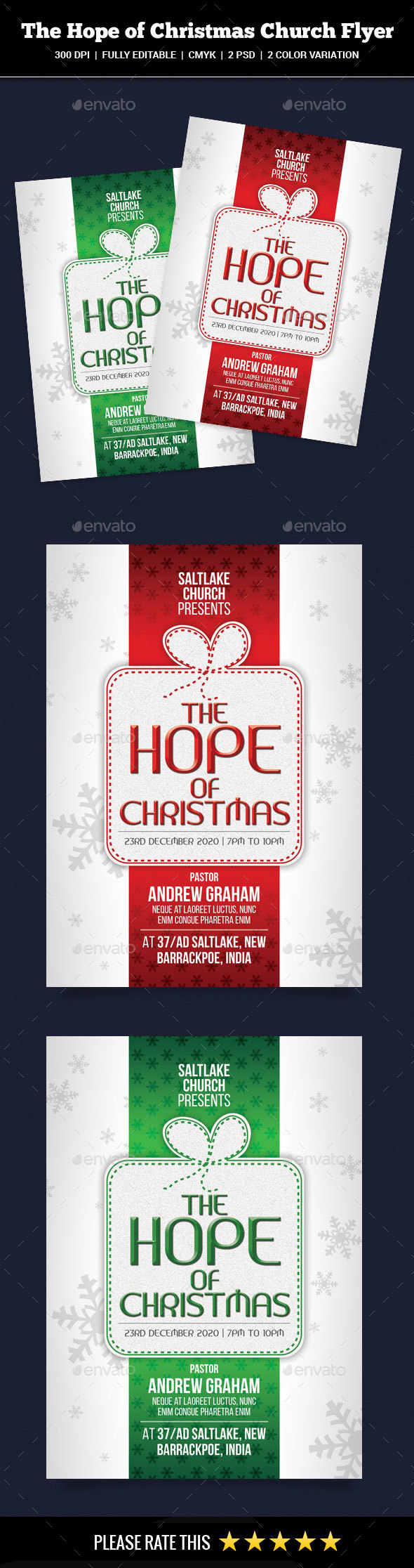 GraphicRiver The Hope of Christmas Church Flyer 20900003