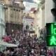 Сrowd Anonymous People on Main Street of City Like Big Anthill Near Pedestrian Crossroads