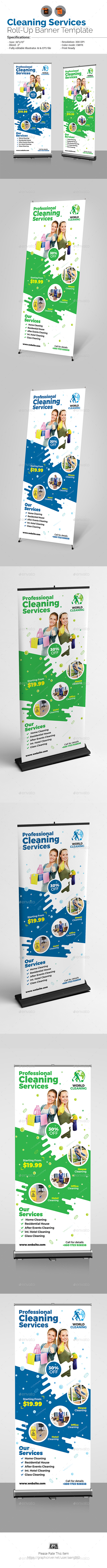 Cleaning Service Roll-Up - Signage Print Templates