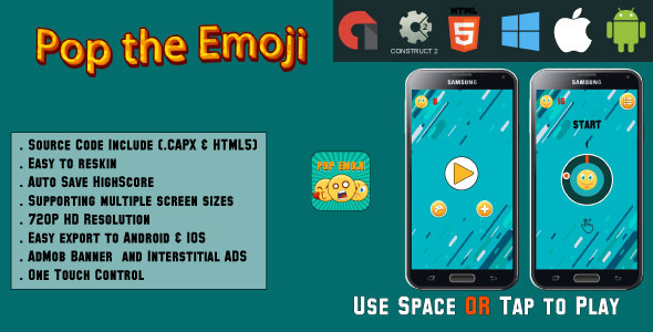 CodeCanyon Pop the Emoji HTML5 Game Android & IOS & AdMob CAPX 20900807