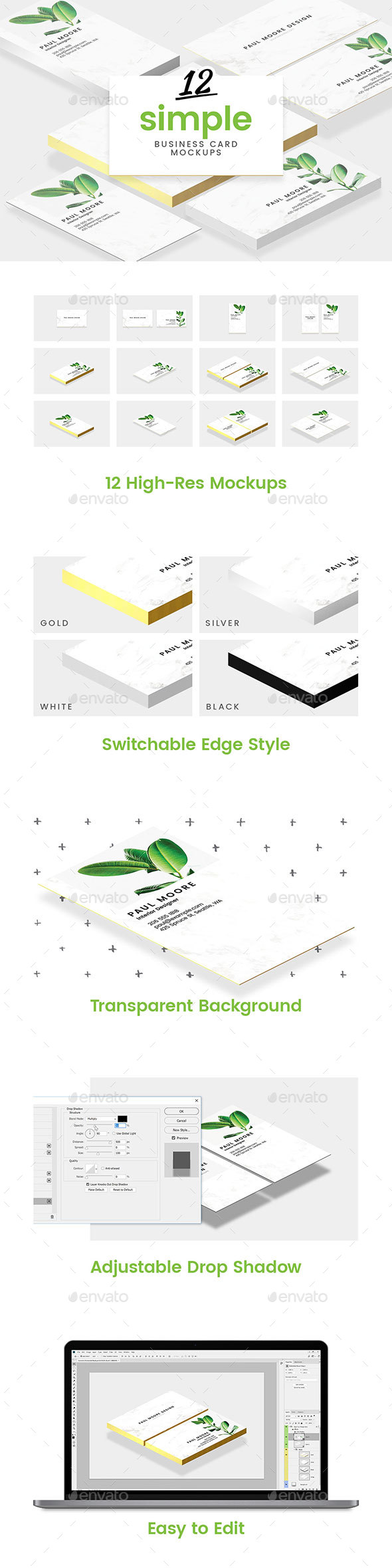 GraphicRiver 12 Simple Business Card Mockups 20900936