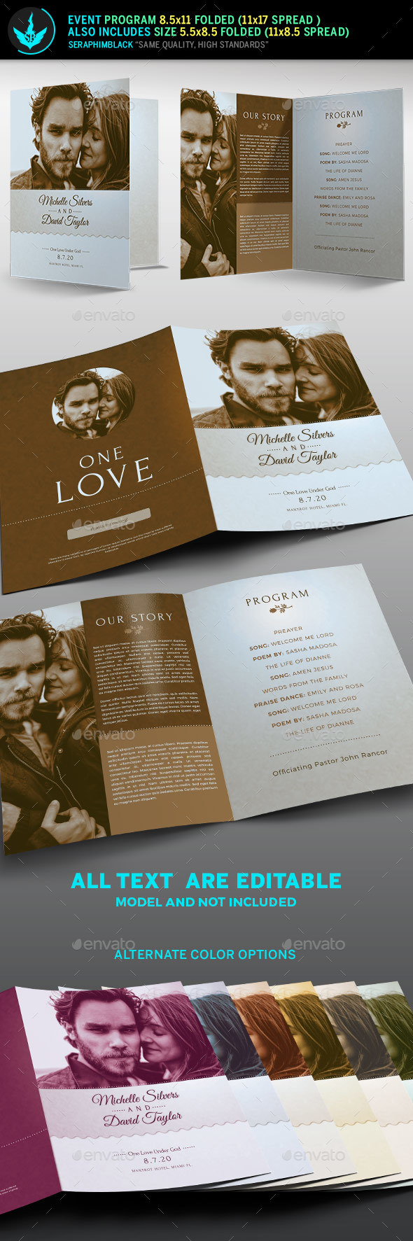 GraphicRiver Retro Wedding Program Template 20900951