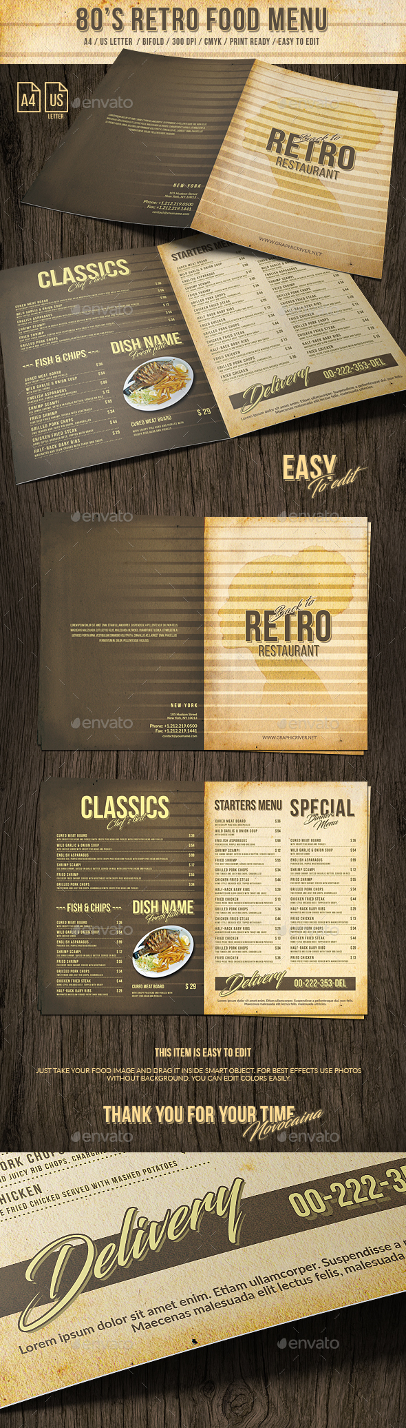 80s Retro Bifold Food Menu US Letter and A4 - Food Menus Print Templates