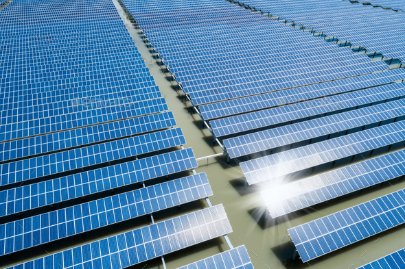 large solar power station from above - Stock Photo - Images