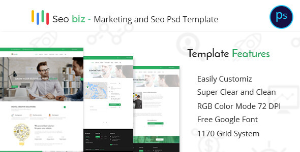 Seobiz– Marketing and SEO PSD Template - PSD Templates