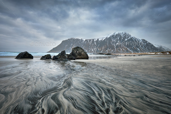 Rocky coast of fjord in Norway - Stock Photo - Images
