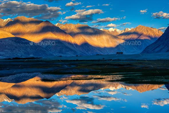 Himalayas on sunset, Nubra valley, Ladakh, India - Stock Photo - Images