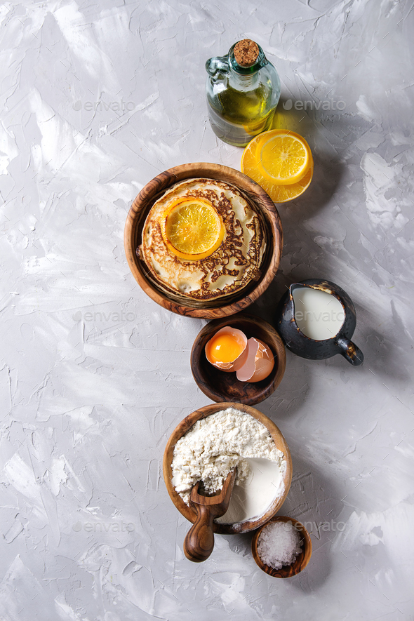 Pancakes with orange - Stock Photo - Images