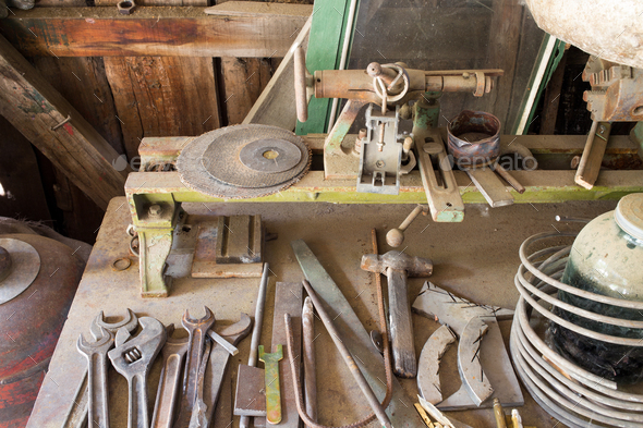 Old rusty work table. - Stock Photo - Images