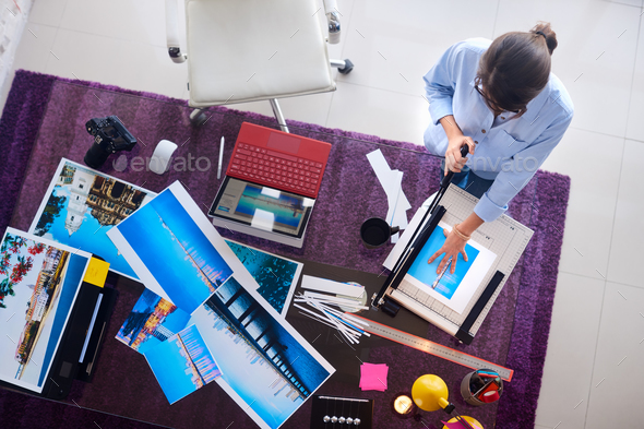 Photographer And Artist Working On Picture In Design Studio - Stock Photo - Images