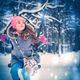Charming little girl on swing in snowy winter - PhotoDune Item for Sale
