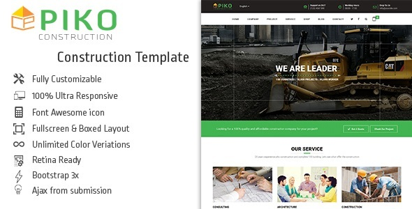 Pikocon - Construction Company Building Business Joomla Template