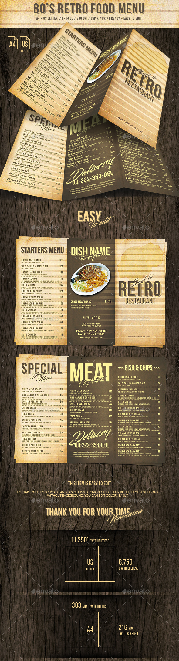 80s Retro Trifold Menu US Letter and A4