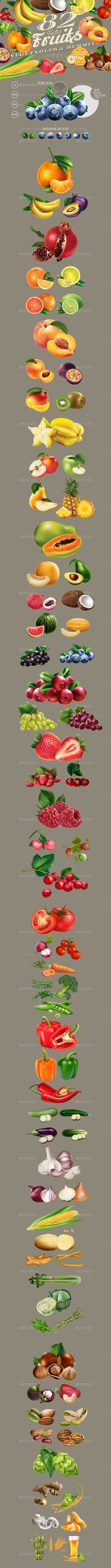 GraphicRiver 82 Fruits Berries and Vegetables 20901293
