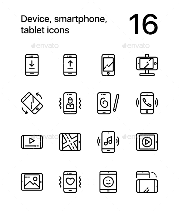 GraphicRiver Device Smartphone Tablet Icons for Web and Mobile Design Pack 1 20901298
