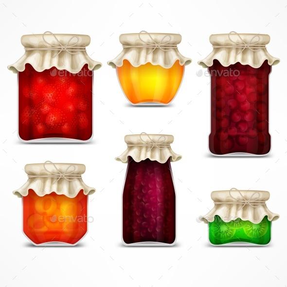 GraphicRiver Natural Fruit Jam Preserves Jars and Retro Lid 20901389