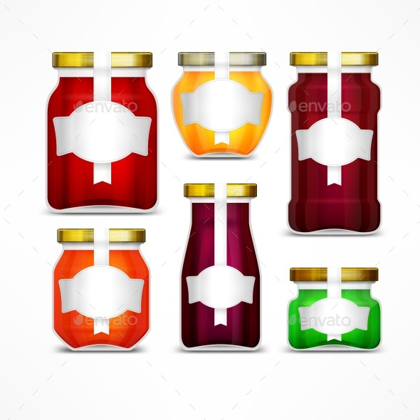 Fruit Jam Jars with Labels - Food Objects