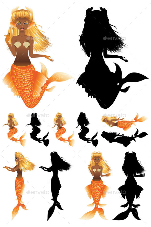 GraphicRiver Gold Fish Tail Mermaid 20901510