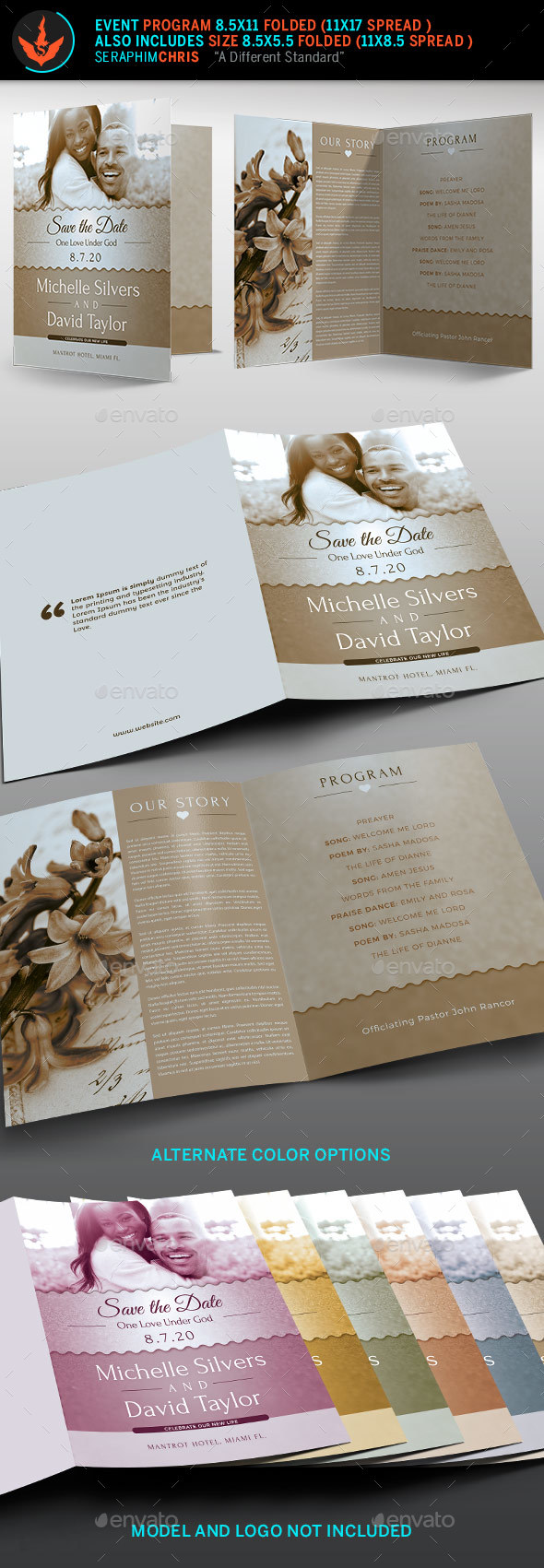 Vintage Wedding Program Template - Informational Brochures