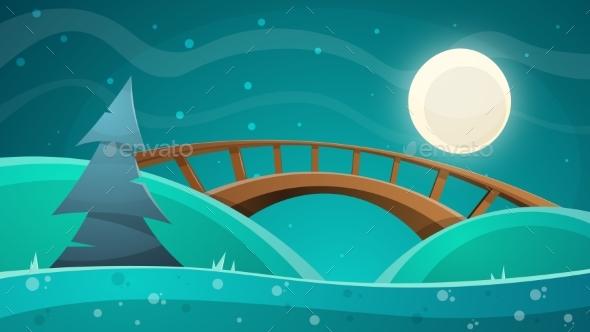 Cartoon Night Landscape. Moon, Bridge, Fir, Sky - Landscapes Nature
