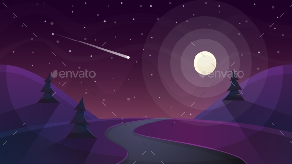 Travel Night Cartoon Landscape. Fir, Comet, Star - Man-made Objects Objects