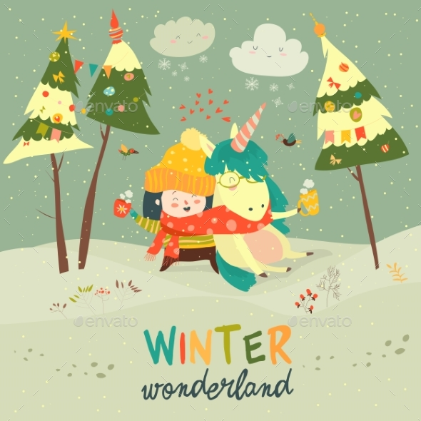 GraphicRiver Girl Hugging Unicorn Winter Wonderland 20901697