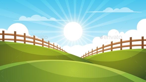 Fence, Cartoon Landscape. Sun, Cloud, Sky - Landscapes Nature