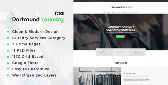 ThemeForest Dortmund Laundry Services PSD Template 20901763
