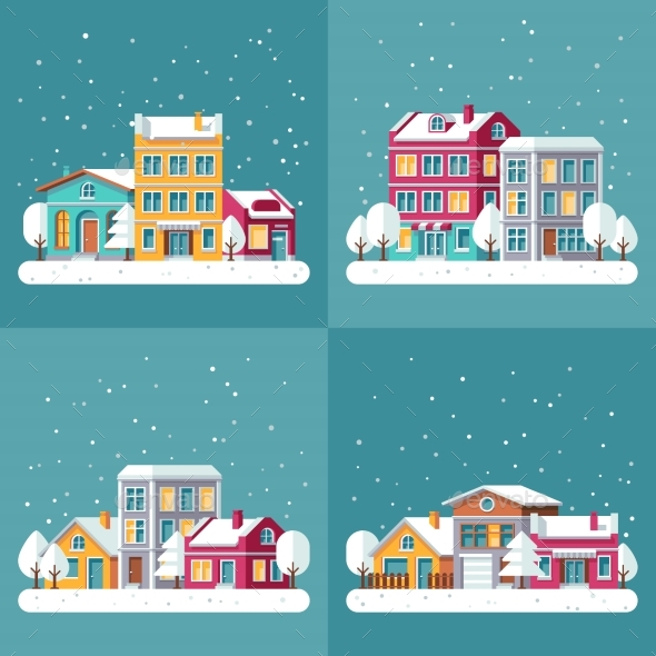 Christmas Winter Holiday Vector Backgrounds Set - Buildings Objects