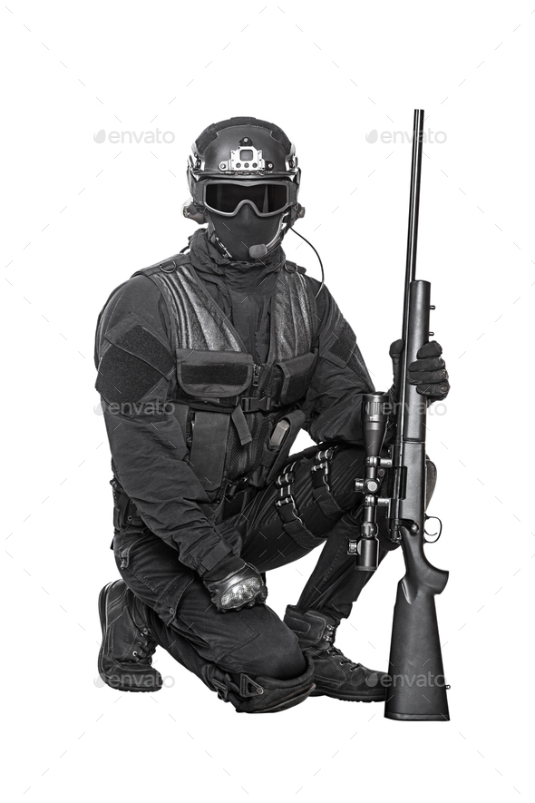 swat operator with sniper rifle - Stock Photo - Images