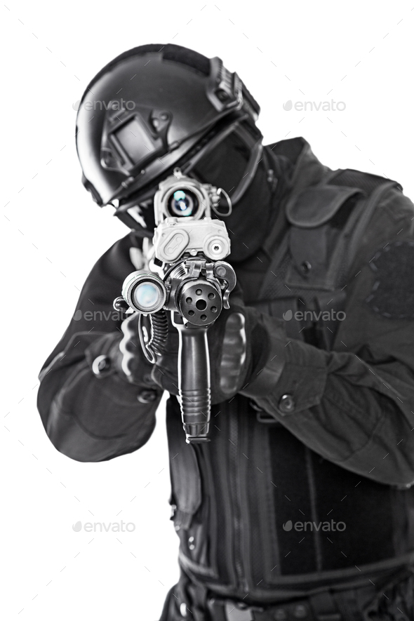 swat police special forces with rifle - Stock Photo - Images
