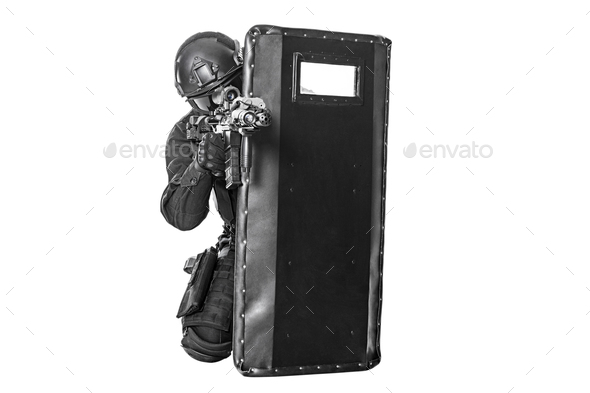 SWAT officer with ballistic shield - Stock Photo - Images