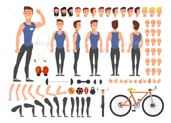 Cartoon Man Athlete Vector Character Constructor - People Characters