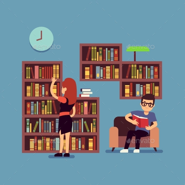 Young Couple Reading Books - Flat Library - Miscellaneous Vectors