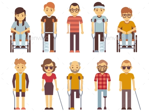 GraphicRiver Disabled People Vector Set Old and Young Invalid 20902727