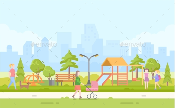 City Children Playground - Modern Cartoon Vector - Buildings Objects