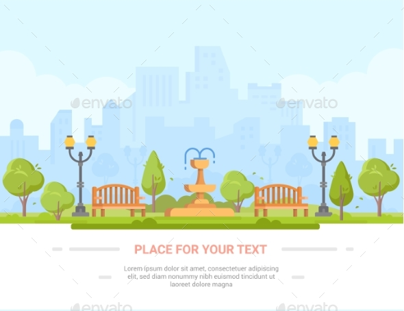 City Park - Modern Vector Illustration with Place - Buildings Objects