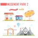 Set of Amusement Park Elements - Modern Vector