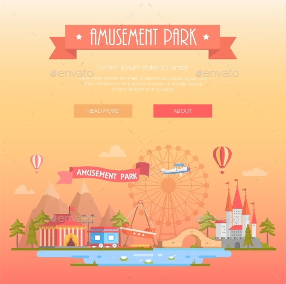 GraphicRiver Amusement Park Modern Vector Illustration 20902794