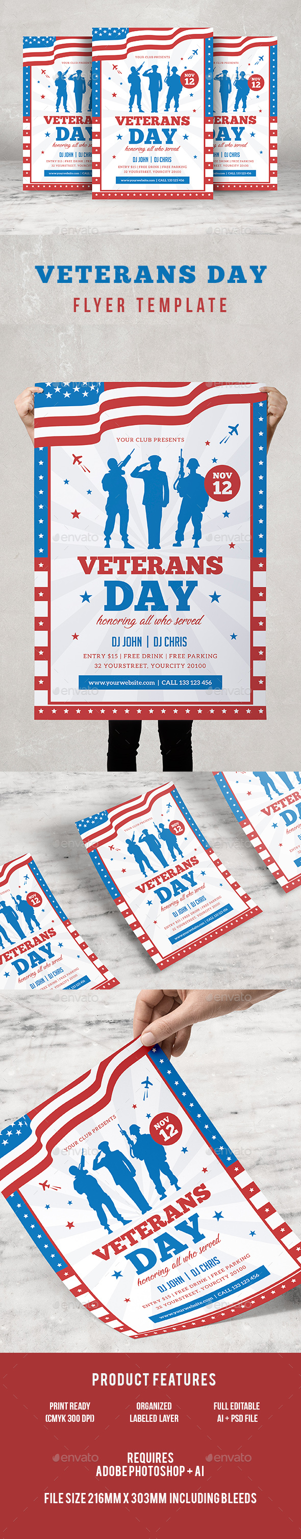 GraphicRiver Veterans Day Flyer 20902945